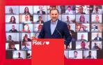 El secretario de Organización del PSOE y ministro de Transportes, José Luis Ábalos, participa en un encuentro telemático con alcaldes socialistas.