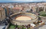 Vista aérea de la plaza de toros de Tudela.