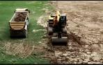 Obras para cambiar el drenaje del césped del Sadar