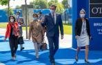 El presidente del Gobierno, Pedro Sánchez llega a la reunión de jefes de Estado y de Gobierno de la OTAN