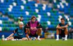 Jorginho, Marcos Alonso y César Azpilicueta durante la sesión de entrenamiento previa a la final de la Supercopa de Europa