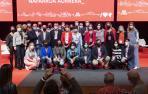 María Chivite posa con su nueva ejecutiva flanqueada por el secretario de Organización del PSOE, Santos Cerdán, y la ministra de Política Territorial, Isabel Rodríguez