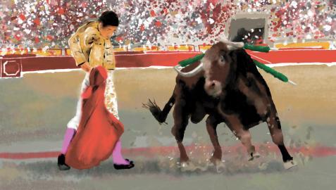 Ilustración de una corrida de toros.