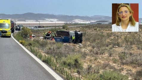 Lugar del accidente y, arriba, en una fotografía de archivo, María Zandio.