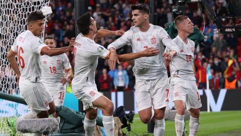 Morata, máximo goleador de la Selección Española, celebra su gol frente a Italia