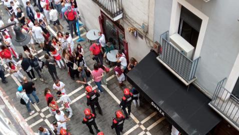 Agentes de Policía Foral, el 6 de julio en Pamplona.