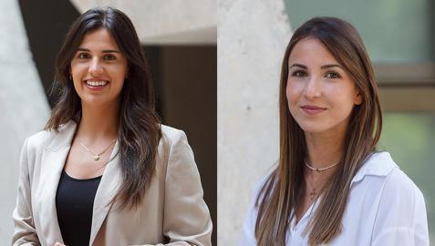 Maite Barguilla y Amaya Tanca, coautora del trabajo que ha obtenido el primer premio