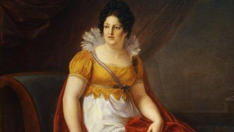 María Luisa de Borbón, Reina de Etruria (Vincenzo Camuccini, 1817). La protagonista sostiene una partitura instrumental