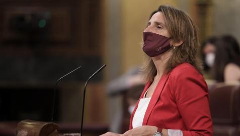 La ministra para la Transición Ecológica, Teresa Ribera, interviniendo en el Congreso de los Diputados