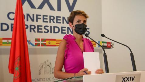 La presidenta de Navarra, la socialista María Chivite, comparece al término de la reunión de trabajo de la XXIV Conferencia de PresidentesLa presidenta de Navarra, la socialista María Chivite, comparece al término de la reunión de trabajo de la XXIV Conferencia de Presidentes