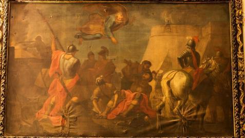 La caída del santo en la defensa del castillo de Pamplona en un lienzo enviado desde Roma a la basílica pamplonesa en 1729
