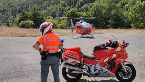 El ciclista fue trasladado en helicóptero medicalizado al Complejo Hospitalario de Navarra
