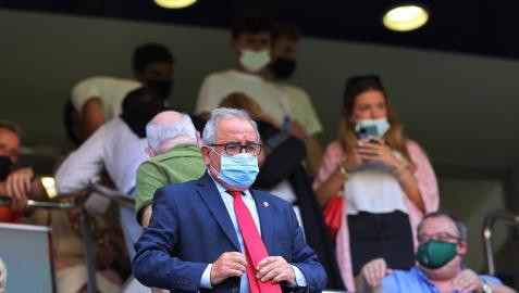 Luis Sabalza, en el palco presidencial de El Sadar este pasado domingo pocas horas después de la asamblea de compromisarios