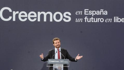 Pablo Casado, durante su intervención en la convención nacional del partido este martes en Valladolid