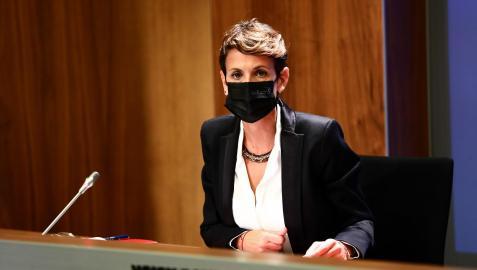 La presidenta del Gobierno de Navarra, María Chivite, en la rueda de prensa de este martes