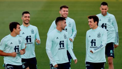 Entrenamiento previo de la selección española antes de medirse a Italia