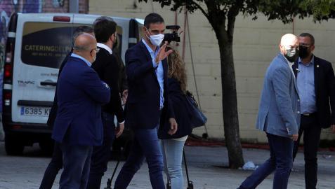 Pedro Sánchez, a su llegada al acto celebrado en Ponferrada