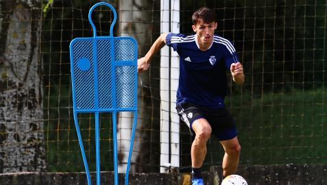 Ante Budimir, en un entrenamiento en solitario anterior en las instalaciones de Tajonar