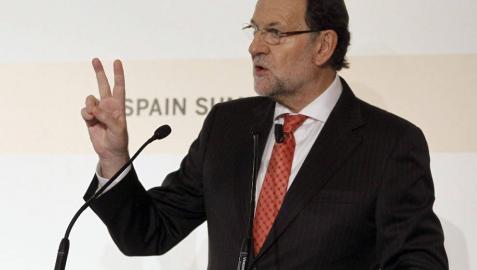 El presidente del Gobierno, Mariano Rajoy, durante su intervención en la cumbre organizada por el Financial Times.