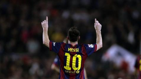 Messi celebra un gol contra el Sevilla