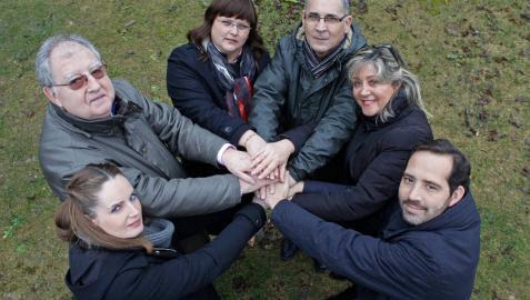 De izda a dcha, Ainara Galdeano, Jesús Mari Ras, Cristina Mondragón, Antonio García, Gloria Fernández y Manuel Arellano.