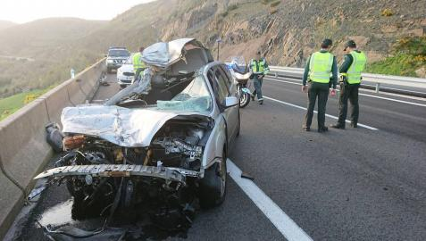 Un herido tras un accidente de tráfico en la A15 en Azpíroz