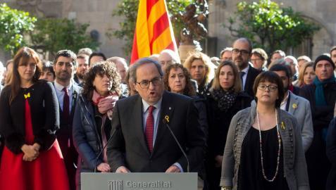 El presidente de la Generalitat, Quim Torra, durante el acto institucional de apoyo a los líderes independentistas.