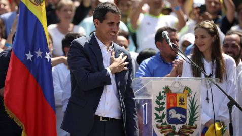 Juan Guaidó, durante la manifestación en Caracas contra Maduro.
