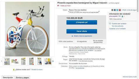 Pantallazo de ebay en el que se muestra la venta de la Espada de Induráin por 150.000 euros.