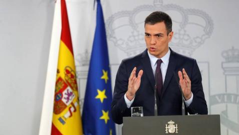 El presidente del Gobierno, Pedro Sánchez, durante su comparecencia este viernes en el Palacio de la Moncloa.