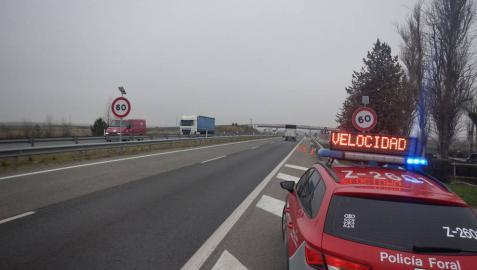 Un 12% de vehículos supera la velocidad en un control señalizado en Ribaforada