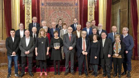Recepción en el Salón del Trono a integrantes de Euskaltzaindia.