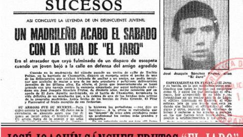 Recorte de un periódico que se hace eco de la muerte de El Jaro.