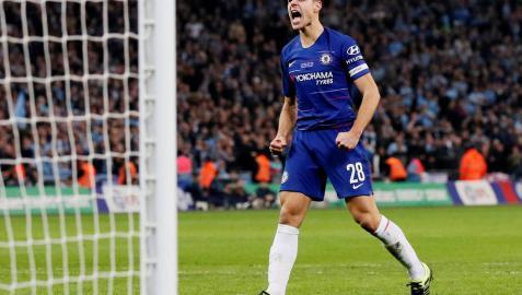 Celebración de Azpilicueta tras marcar el penalti ante el Manchester City