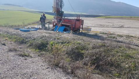 Vista de los trabajos llevados a cabo en Imárcoain previos a la licitación del anteproyecto.