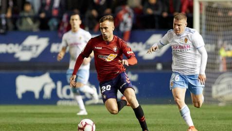 Rober Ibáñez, en el partido frente al Zaragoza.