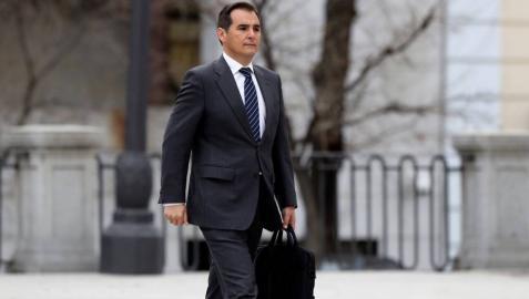 El ex secretario de Estado de Seguridad José Antonio Nieto, a su llegada este lunes al Tribunal Supremo donde declara como testigo en el juicio del