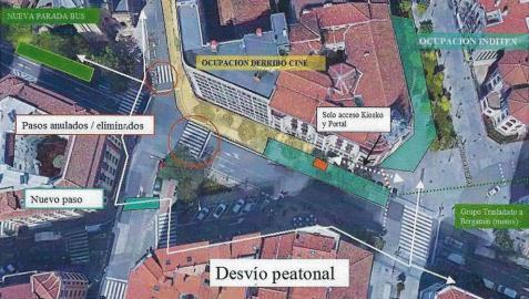 Mapa facilitado por la Policía Municipal de Pamplona sobre las alteraciones de tráfico por la segunda fase del derribo de los cines Carlos III.