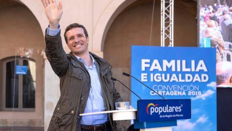 Pablo Casado, durante la convención de familia e igualdad del Partido Popular hoy en el Campus de la Muralla del Mar de Cartagena.