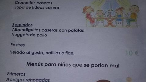 Un menú infantil de Segovia para