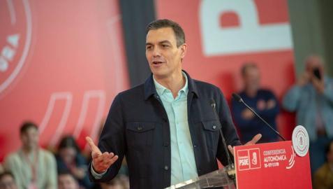 El presidente del Gobierno, Pedro Sánchez, interviene en el acto de clausura de la Conferencia Autonómica del PSOE de Extremadura.