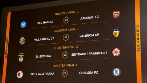 Cuadro de cuartos de final de la Liga Europa tras el sorteo.