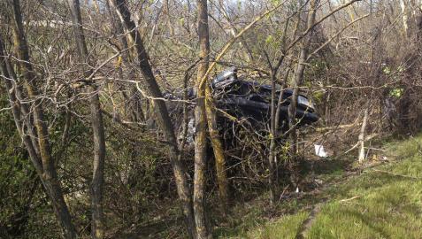 Dos heridos leves al volcar su vehículo en la A-15 en Berrioplano