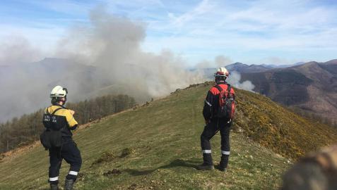 El fuego quema una superficie de 17 hectáreas en Goizueta