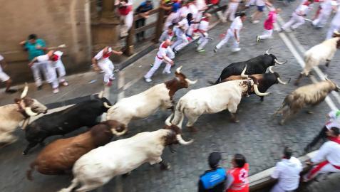 Imágenes del sexto encierro de los sanfermines 2019 protagonizado por toros de Núñez del Cuvillo.
