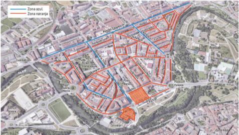 La zona azul y naranja llegará a la mitad sur de la Rochapea a principios de año
