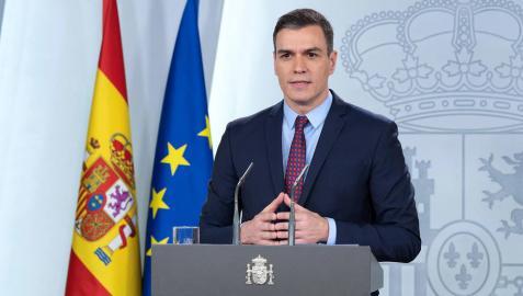 Pedro Sánchez comparece en La Moncloa.