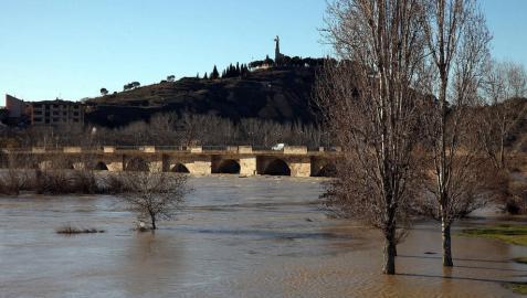Imagen del río Ebro a su paso ayer por Tudela.