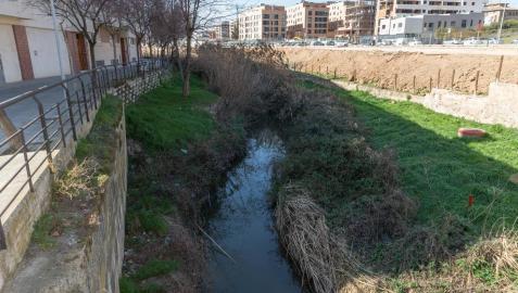 Vista del río Queiles a su paso por Tudela, en concreto junto a la zona conocida como el Puente Mancho.