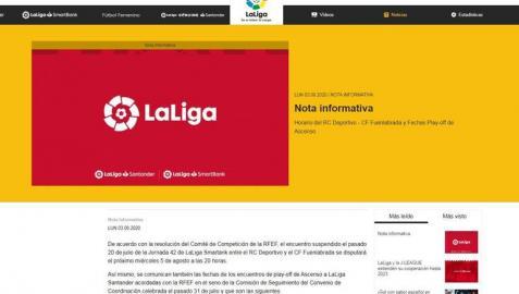 LaLiga anuncia el Dépor-Fuenlabrada para el 5 de agosto y el comienzo del 'playoff' para el 13 de agosto